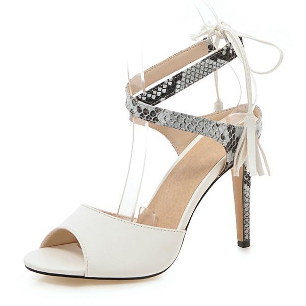 Kvinder Kunstlæder Stiletto Hæl sandaler Pumps med Blondér Tassel sko