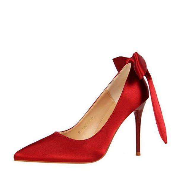 Femmes Satiné Talon stiletto Escarpins Bout fermé avec Bowknot chaussures