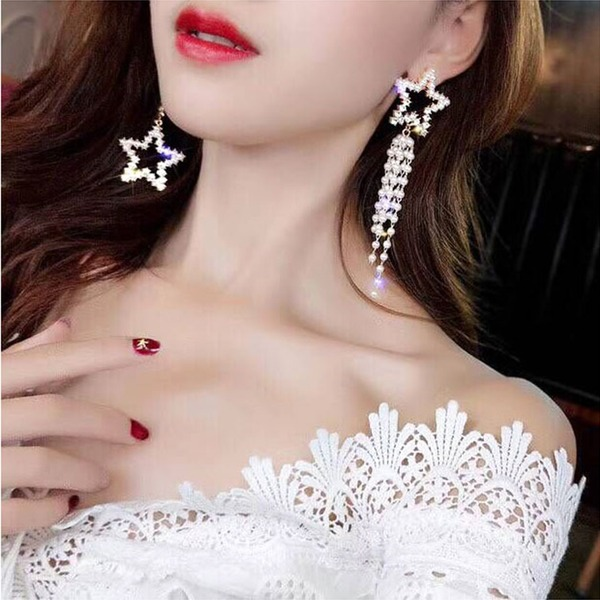 Gorgeous Alloy Rhinestones Imitation Pearls With Imitation Pearl Rhinestone Women's Fashion Earrings (Sold in a single piece)