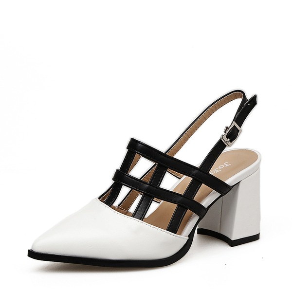 Mulheres Couro Salto robusto Sandálias Bombas Fechados Sapatos abertos sapatos