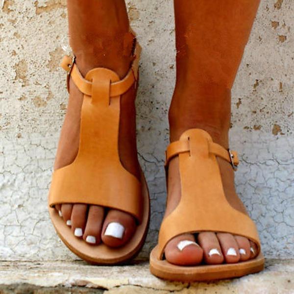 Kvinner Lær Flat Hæl Sandaler Flate sko Titte Tå med Spenne sko