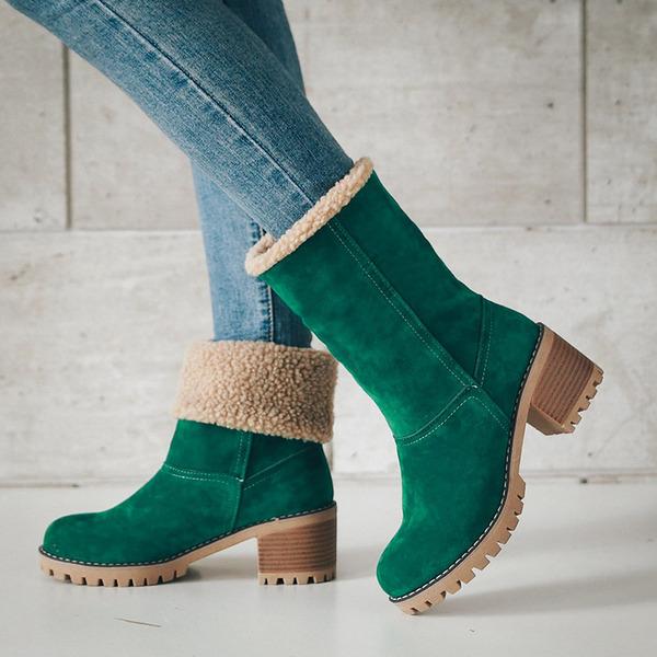 Женщины кожа Устойчивый каблук Ботинки Полусапоги Зимние сапоги обувь