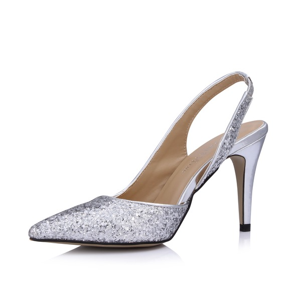 Vrouwen Kunstleer Sprankelende Glitter Cone Heel Closed Toe Pumps Slingbacks
