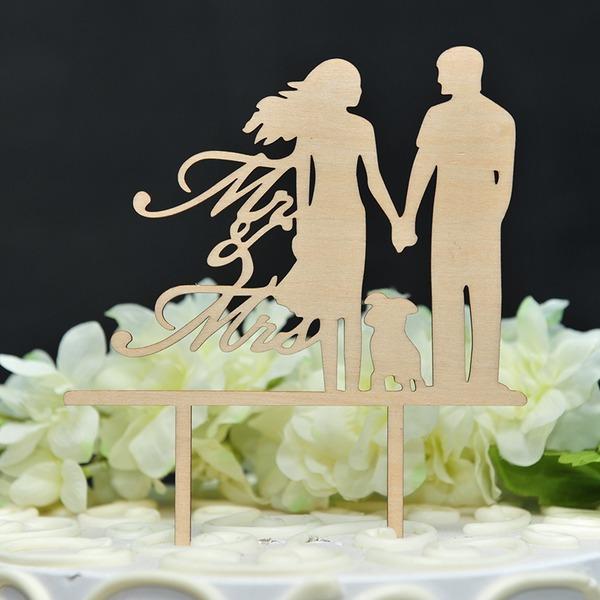 Pareja Clásica Madera Decoración de tortas