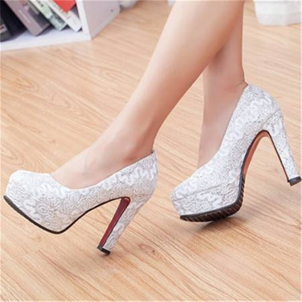 Women's Lace Chunky Heel Pumps With Sequin Hollow-out shoes