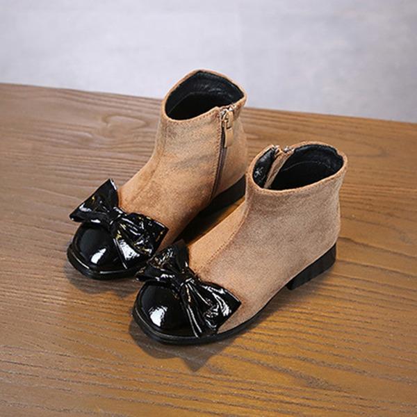 Fille de bout rond Bout fermé Bottines Suède talon plat Chaussures plates Bottes Chaussures de fille de fleur avec Bowknot Dentelle Zip