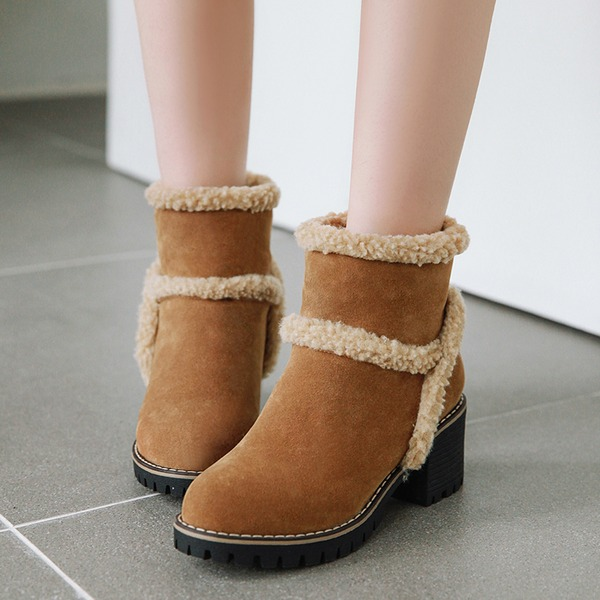 Women's Leatherette Chunky Heel Boots Ankle Boots Snow Boots أحذية