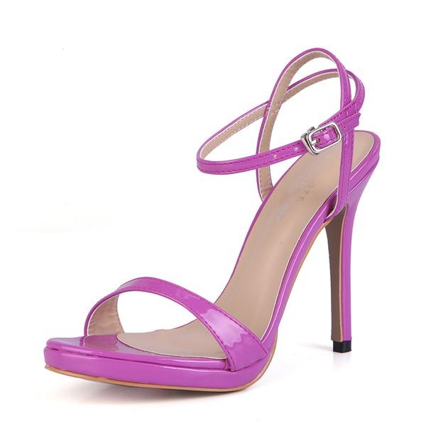 Vrouwen Patent Leather Stiletto Heel Sandalen Pumps Peep Toe Slingbacks met Gesp schoenen