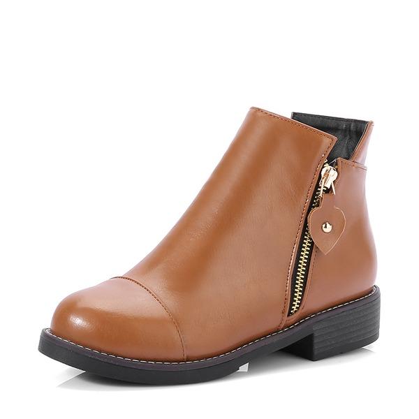 Femmes Similicuir Talon bottier Chaussures plates Bottes Bottines avec Zip chaussures