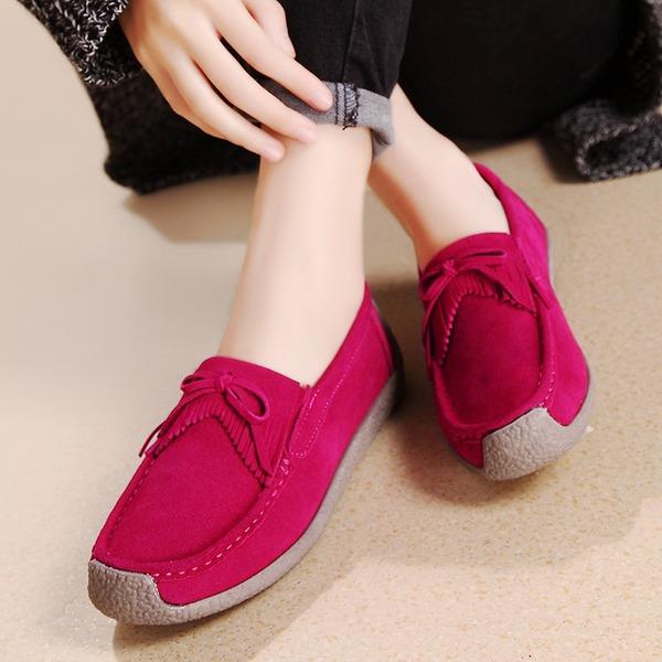 Frauen Veloursleder Flascher Absatz Flache Schuhe Geschlossene Zehe mit Bowknot Schuhe