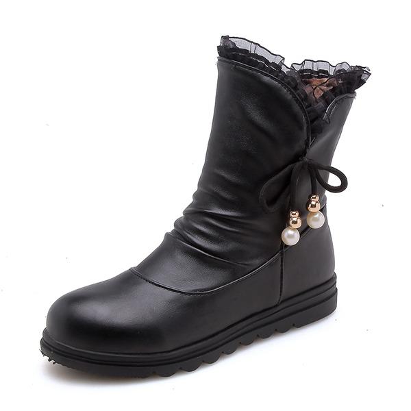 Kvinder Kunstlæder Flad Hæl Lukket Tå Støvler Mid Læggen Støvler med Imiteret Pearl Blondér sko