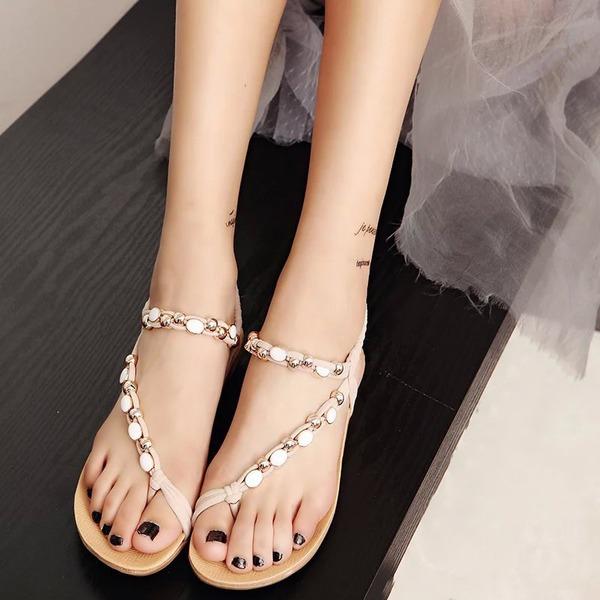 Mulheres Couro Plataforma Sandálias Sem salto Peep toe Sapatos abertos com Beading Faixa Elástica sapatos