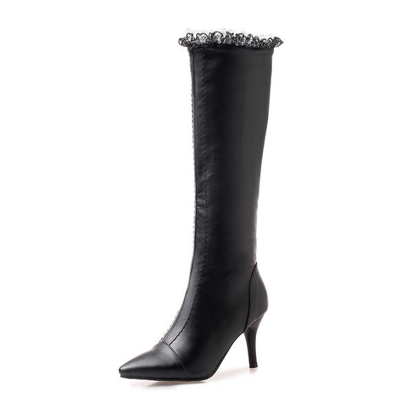 Mulheres Couro Salto agulha Botas Bota no joelho com Zíper sapatos