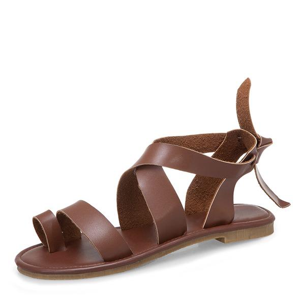 Frauen PU Flascher Absatz Sandalen Flache Schuhe Peep Toe Schuhe