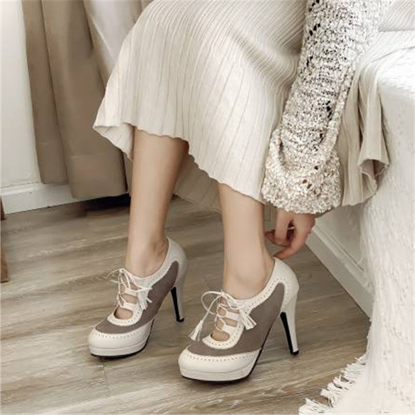 Women's PU Cone Heel Ankle Boots With Lace-up Hollow-out Tassel Split Joint shoes