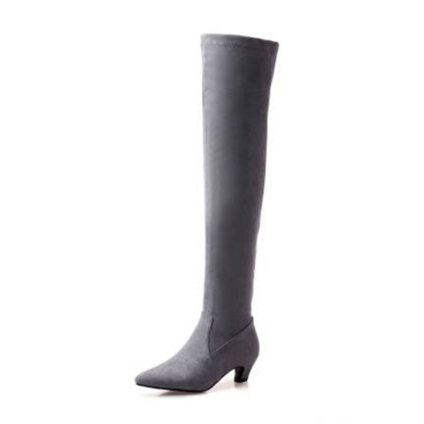 Women's Suede Low Heel Boots Over The Knee Boots With Split Joint shoes