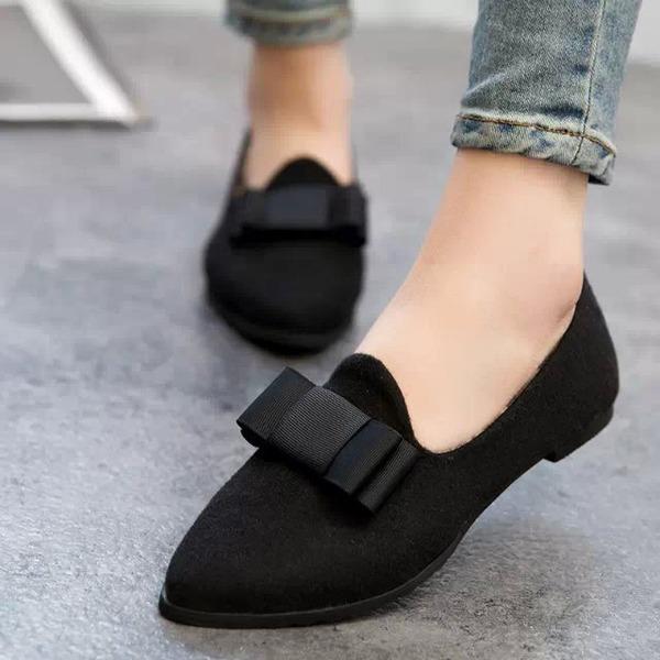 De mujer Ante Tacón plano Planos Cerrados con Bowknot zapatos