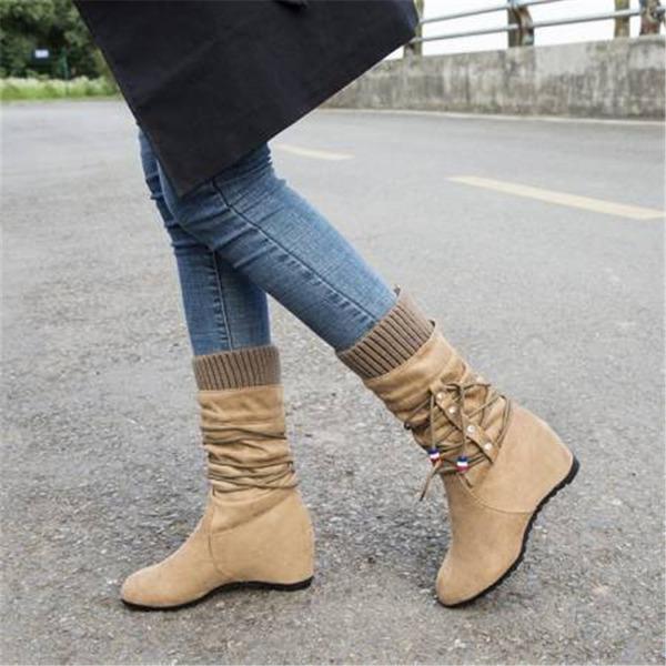 Vrouwen Suede Wedge Heel Half-Kuit Laarzen met Vastrijgen schoenen
