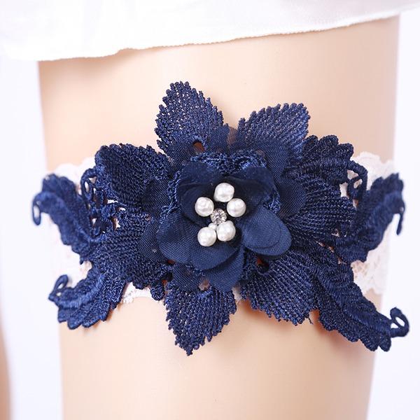 Elegant Spitze mit Blume/Strass Hochzeit Strumpfbänder