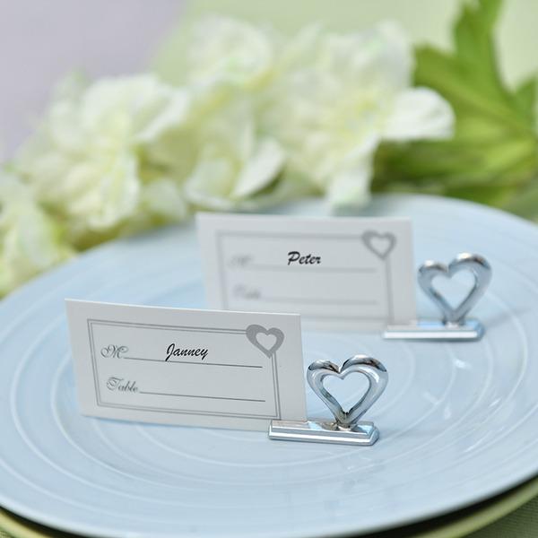 """""""Kærlighedshistorie""""/""""Lykkelig tid"""" Hjerteformede Zinklegeret Bordkortholdere (Sæt af 4)"""