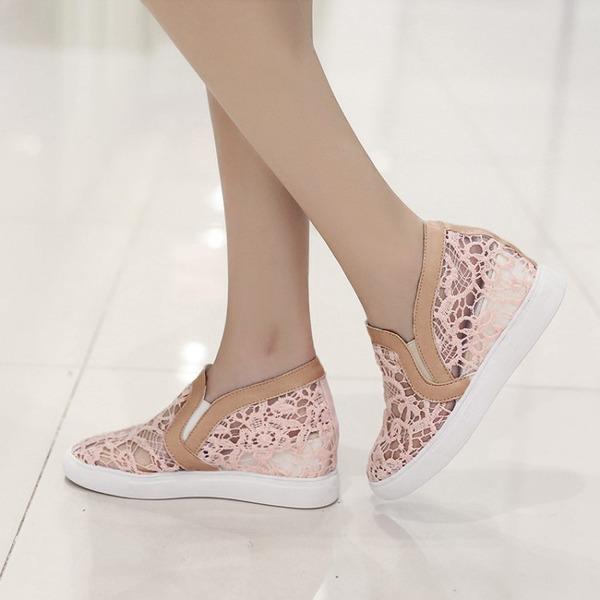 Kadın Dantel Dolgu Topuk Takozlar Ile Dikiş Danteli ayakkabı