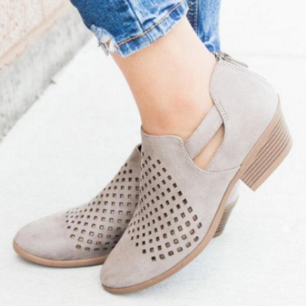 Kvinner Lær Lav Hæl Sandaler sko