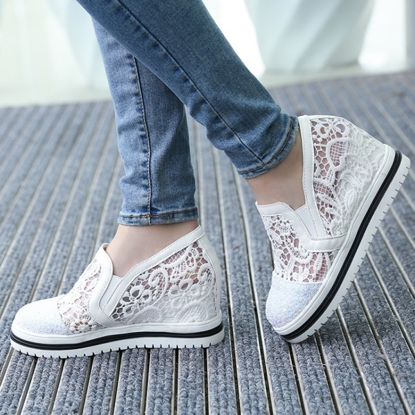 Women's Lace Wedge Heel Flats Wedges With Sequin Stitching Lace shoes