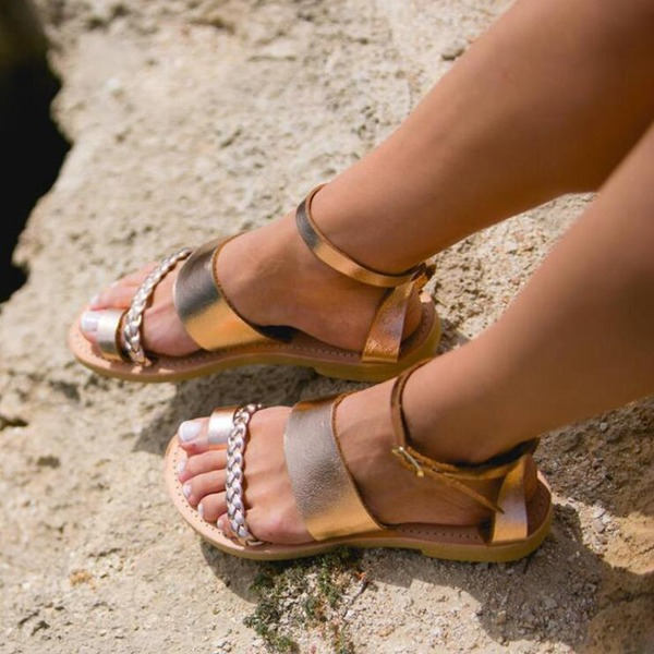 Donna Similpelle Senza tacco Sandalo Ballerine Punta aperta Con cinturino con Fibbia Spalline intrecciate scarpe