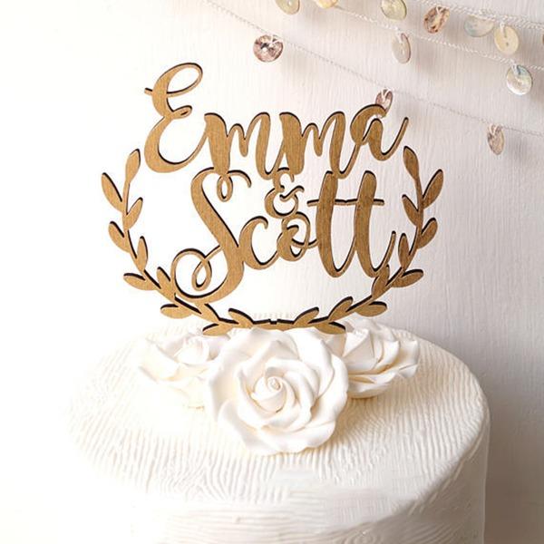 Personalizado Noiva e Noivo Madeira Decorações de bolos