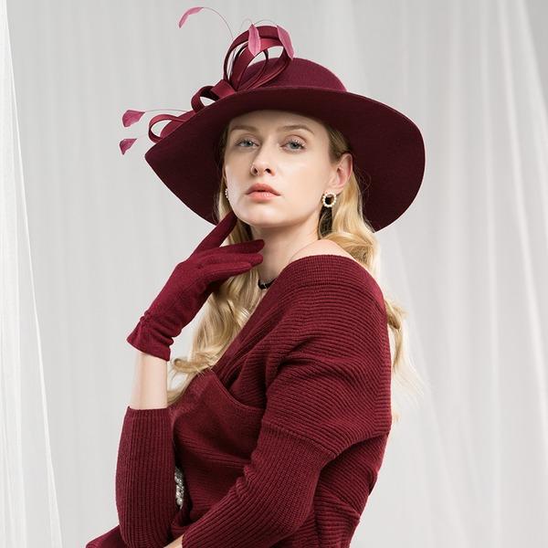 Ladies' Beautiful/Fashion/Elegant/Nice Wool With Feather Floppy Hat
