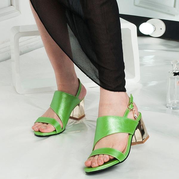 Mulheres Couro Salto robusto Sandálias Peep toe Sapatos abertos com Outros sapatos