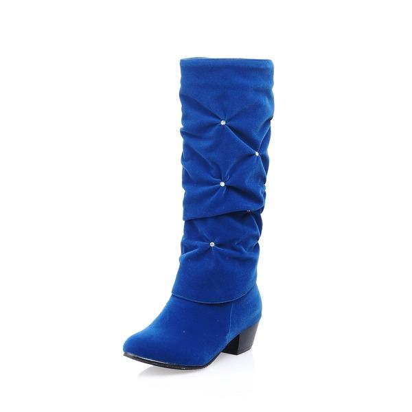 Mulheres Couro Salto baixo Fechados Botas na panturrilha com Strass sapatos