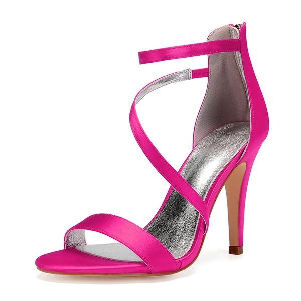 Kadın İpeksi Saten İnce Topuk Peep Toe Pompalar Sandalet Ile Yapay elmas Fermuar