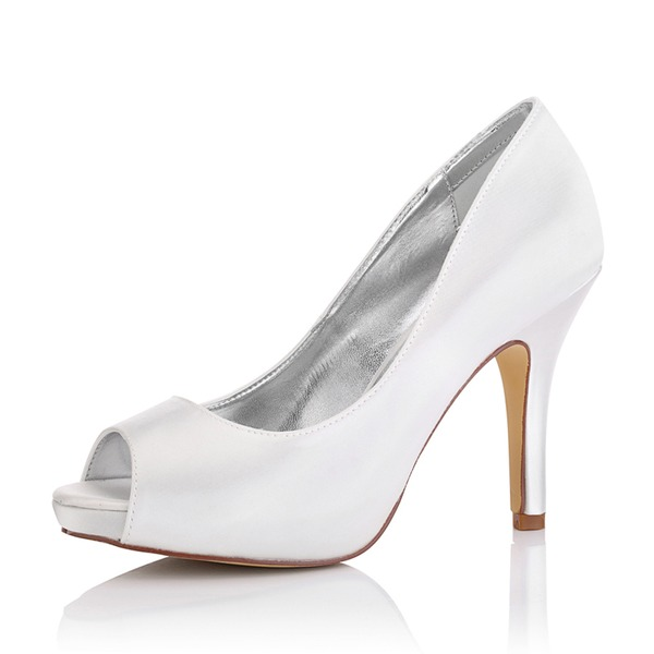 Kadın Saten İnce Topuk Peep Toe Sandalet Boyanabilir ayakkabılar