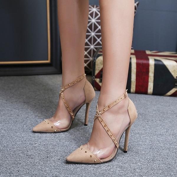 Femmes Suède Talon stiletto Escarpins avec Rivet Boucle chaussures