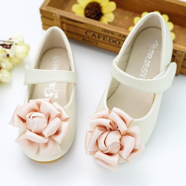 Girl's Ronde neus imitatieleer Flat Heel Flats Bloemenmeisje schoenen met Velcro Bloem