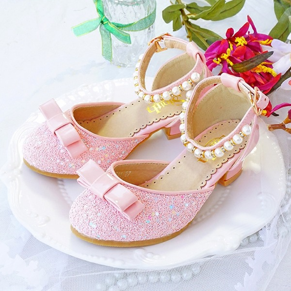 Girl's Round Toe Closed Toe Sparkling Glitter Low Heel Flower Girl Shoes With Bowknot Pearl