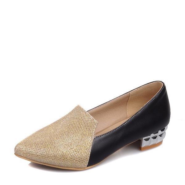 De mujer Brillo Chispeante PU Tacón ancho Planos zapatos