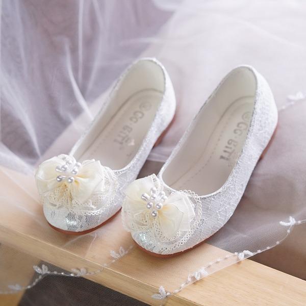 Jentas Lukket Tå Blonder flat Heel Flate sko Flower Girl Shoes med Profilering Bowknot