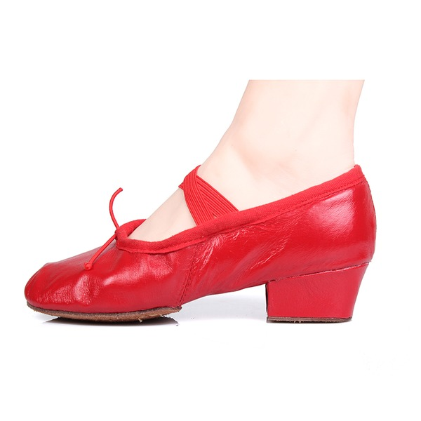Women's Real Leather Pumps Ballet Belly With Bowknot Dance Shoes