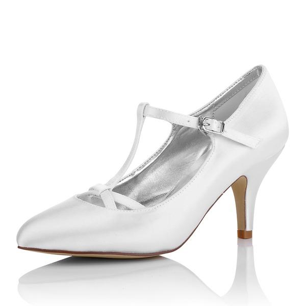 Kadın Saten İnce Topuk Kapalı Toe Pompalar Boyanabilir ayakkabılar