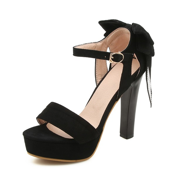 Women's Suede Stiletto Heel Sandals Pumps Platform Peep Toe Mary Jane With Buckle shoes