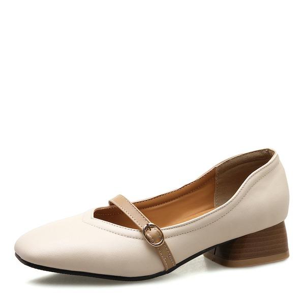 Frauen Kunstleder Stämmiger Absatz Absatzschuhe Geschlossene Zehe Mary Jane mit Schnalle Schuhe