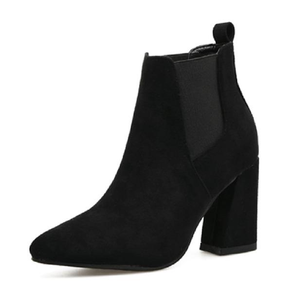 Kadın Süet Kalın Topuk Kapalı Toe Bot Ayak bileği Boots Ile Elastic Band ayakkabı