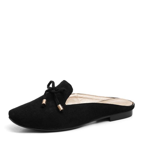Femmes Suède Talon plat Chaussures plates Bout fermé Chaussons avec Bowknot chaussures