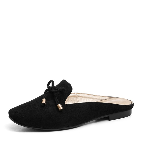De mujer Ante Tacón plano Planos Cerrados Pantuflas con Bowknot zapatos
