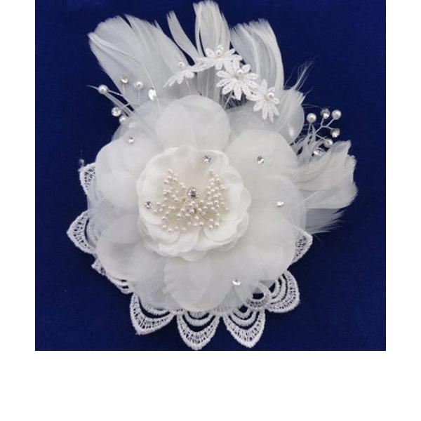 Magnifique De faux pearl/Feather/Dentelle/Mousseline de soie Des peignes et barrettes avec Perle Vénitienne (Vendu dans une seule pièce)