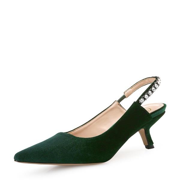 Mulheres Camurça Salto agulha Bombas Fechados com Pérola Imitação sapatos