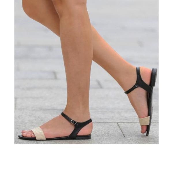 Femmes PU Talon plat Sandales Chaussures plates À bout ouvert Escarpins avec Fourrure chaussures