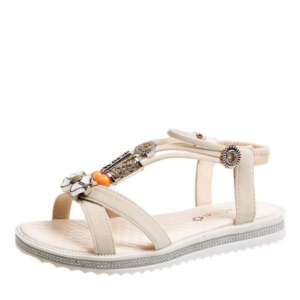 Frauen Kunstleder Flascher Absatz Sandalen Flache Schuhe Peep Toe mit Perle Schuhe